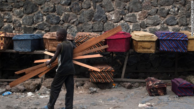 Coffins for sale in the east of Congo in August 2013. By 2008 more than 5.4 million people had been killed in Congo as a result of ongoing conflict.