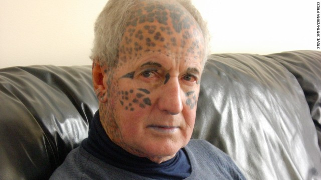 "Tom Leppard -- the so-called ""Leopard Man of Skye"" -- shot to fame after becoming the world's most tattooed man -- a crown he held until recently. His entire body is covered with leopard spots."