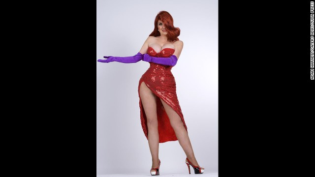 "Annette Edwards, a British mother of 10, spent more than 10,000 pounds to transform herself into a real-life Jessica Rabbit, an animated character in the movie ""Who Framed Roger Rabbit?"""