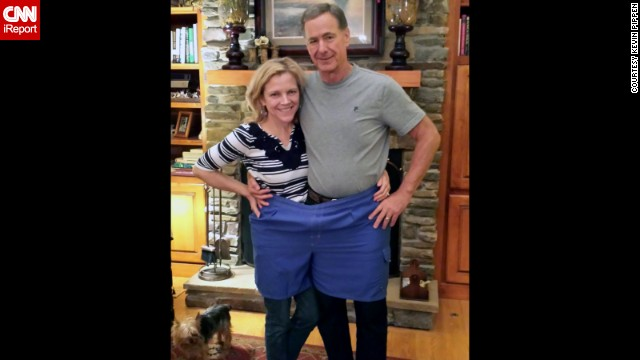 The couple poses in Pippen's old swimsuit, a size 4XL. Pippen now fits into jeans with a 32-inch waist. Susan has also slimmed down -- going from a size 10 to a size 2.