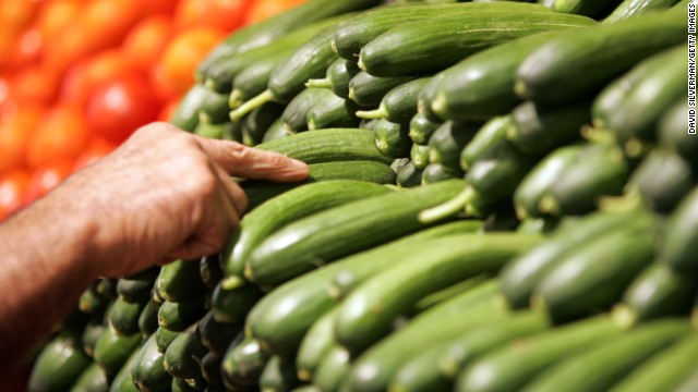 """<strong>Cucumber</strong><!-- --> </br>Water content: 96.7%<!-- --> </br><!-- --> </br>This summer veggie — which has the <a href='http://ndb.nal.usda.gov/ndb/foods/show/2945' target='_blank'>highest water content </a>of any solid food — is perfect in salads, or sliced up and served with some hummus, says Keri Gans, author of """"The Small Change Diet: 10 Steps to a Thinner and Healthier You"""" and a consultant to Mindbloom, a technology company that makes life-improvement apps.<!-- --> </br><!-- --> </br>Want to pump up cucumber's hydrating power even more? Try blending it with nonfat yogurt, mint, and ice cubes to make cucumber soup. <!-- --> </br><!-- --> </br><a href='http://www.health.com/health/gallery/0,,20660118,00.html' target='_blank'>Health.com: The best foods for every vitamin and mineral</a><!-- --> </br>"""