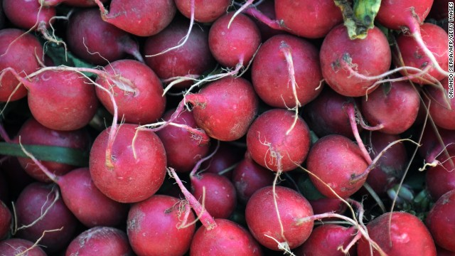 <strong>Radishes</strong><!-- --> </br>Water content: 95.3%<!-- --> </br><!-- --> </br>These refreshing root vegetables should be a fixture in your spring and summer salads. They provide a burst of spicy-sweet flavor—and color!—in a small package, and more importantly they're filled with antioxidants such as catechin (also found in green tea).<!-- --> </br> <!-- --> </br>A crunchy texture also makes radishes a perfect addition to healthy summer coleslaw—no mayo required. Slice them up with shredded cabbage and carrots, sliced snow peas, and chopped hazelnuts and parsley, and toss with poppy seeds, lemon juice, olive oil, salt, and pepper.<!-- --> </br><!-- --> </br>