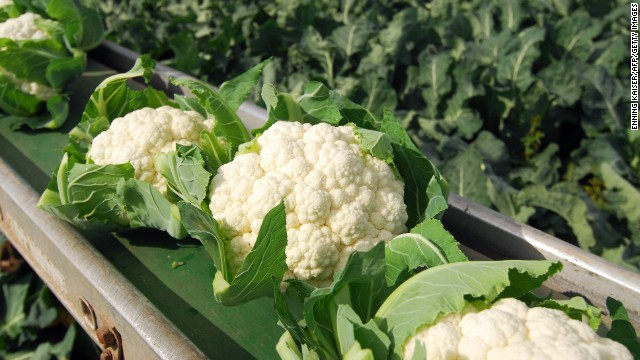 """<strong>Cauliflower</strong><!-- --> </br>Water content: 92.1%<!-- --> </br><!-- --> </br>Don't let cauliflower's pale complexion fool you: In addition to having lots of water, these unassuming florets are packed with vitamins and phytonutrients that have been shown to help lower cholesterol and fight cancer, including breast cancer. (A 2012 study of breast cancer patients by Vanderbilt University researchers found that eating cruciferous veggies like cauliflower was associated with a lower risk of dying from the disease or seeing a recurrence.)<!-- --> </br> <!-- --> </br>""""Break them up and add them to a salad for a satisfying crunch,"""" Gans suggests. """"You can even skip the croutons!""""<!-- --> </br>"""
