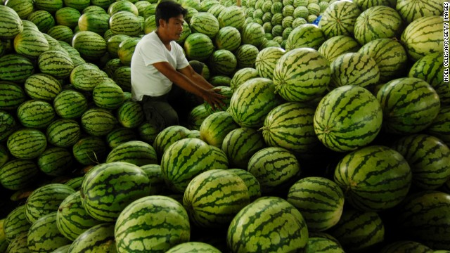 "<strong>Watermelon</strong><!-- --> </br>Water content: 91.5%<!-- --> </br><!-- --> </br>It's fairly obvious that watermelon is full of, well, water, but this juicy melon is also among the richest sources of lycopene, a cancer-fighting antioxidant found in red fruits and vegetables. In fact, watermelon contains more lycopene than raw tomatoes—about 12 milligrams per wedge, versus 3 milligrams per medium-sized tomato.<!-- --> </br> <!-- --> </br>Although this melon is plenty hydrating on its own, Gans loves to mix it with water in the summertime. ""Keep a water pitcher in the fridge with watermelon cubes in the bottom,"" she says. ""It's really refreshing, and great incentive to drink more water overall.""<!-- --> </br>"