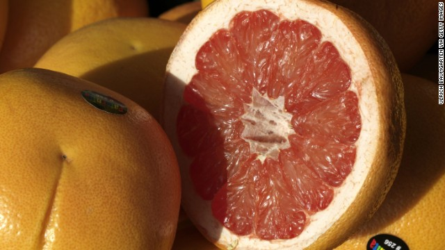 <strong>Grapefruit</strong><!-- --> </br>Water content: 90.5%<!-- --> </br><!-- --> </br>This juicy, tangy citrus fruit can help lower cholesterol and shrink your waistline, research suggests. In one study, people who ate one grapefruit a day lowered their bad (LDL) cholesterol by 15.5% and their triglycerides by 27%. In another, eating half a grapefruit — roughly 40 calories — before each meal helped dieters lose about three and a half pounds over 12 weeks. Researchers say that compounds in the fruit help fuel fat burn and stabilize blood sugar, therefore helping to reduce cravings.<!-- --> </br>