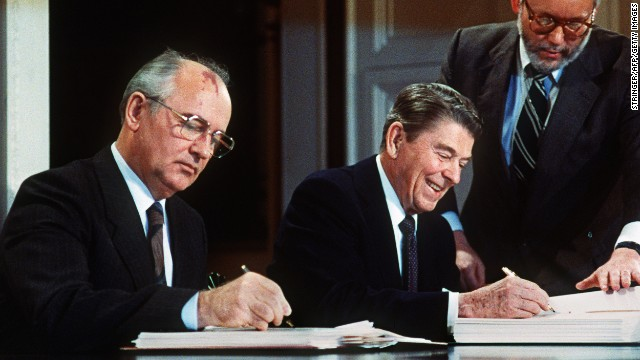 Gorbachev and Reagan sign a treaty eliminating U.S. and Soviet intermediate-range and shorter-range nuclear missiles in Washington in 1987.