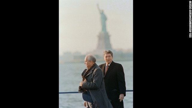 Reagan and Gorbachev visit Governors Island in New York in 1988.