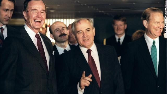 President George H. W. Bush with Gorbachev in Valletta, Malta, during a U.S.-Soviet summit in 1989.
