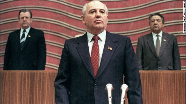Gorbachev takes the oath at the Congress of People's Deputies in Moscow in 1990.