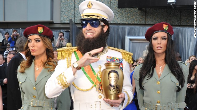 Sacha Baron Cohen was dressed in his role of the Dictator on the red carpet for the Academy Awards in 2012, when he <a href='http://www.youtube.com/watch?v=mhAg0COnqds' target='_blank'>spilled ashes on Ryan Seacrest. </a>
