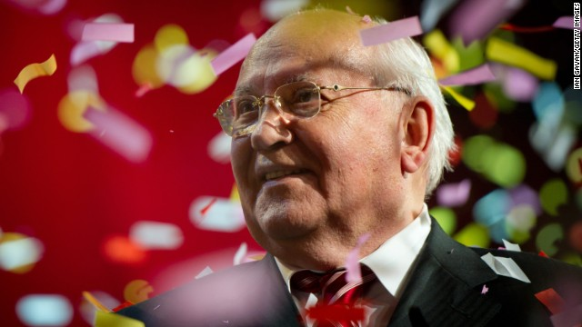 Gorbachev on stage in London during the finale of the Gorby 80 Gala, a celebration of Gorbachev's 80th birthday in 2011.