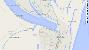 The south side of Lake Providence, Louisiana, did not have Google Street View functionality in November 2013. Roads with Street View are highlighted in blue.