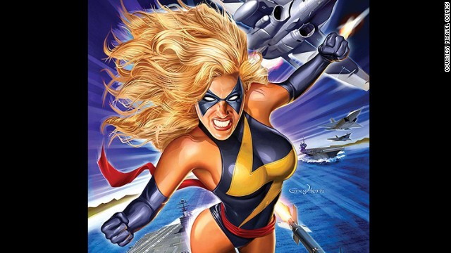 Carol Danvers, formerly Ms. Marvel, currently Captain Marvel. First appearance in 1967. Marvel Universe.