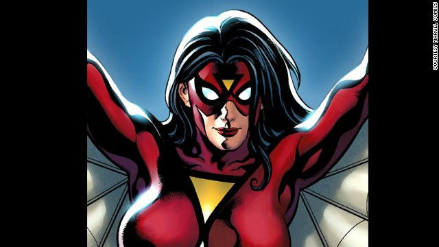 Jessica Drew, Spider-Woman. First appearance in 1977. Marvel Universe.