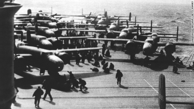 B-25 bombers sit on the deck of the USS Hornet in the Pacific Ocean in 1942. The Hornet, one of three ships in the Yorktown class, was the ship that launched bombers flown by Air Force Lt. Col. James Doolittle and his pilots during an air raid in Tokyo four months after the attack on Pearl Harbor.