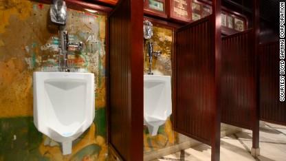 Berlin Wall section in men's room at Main Street Casino in Las Vegas