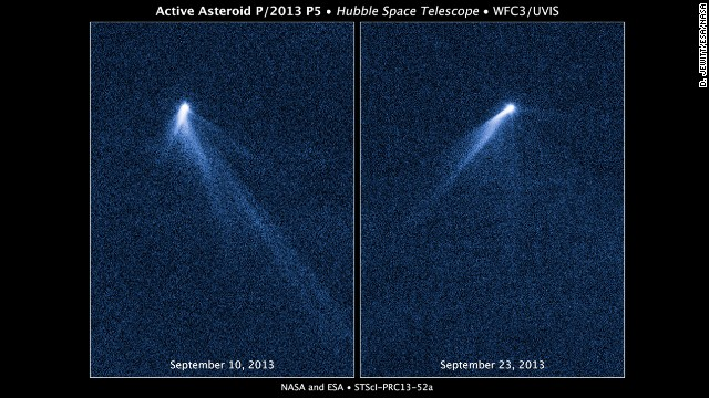 This NASA Hubble Space Telescope reveals a never-before-seen set of six comet-like tails radiating from a body in the asteroid belt, named P/2013 P5. The asteroid was discovered as an unusually fuzzy-looking object with the Panoramic Survey Telescope and Rapid Response System survey telescope in Hawaii.
