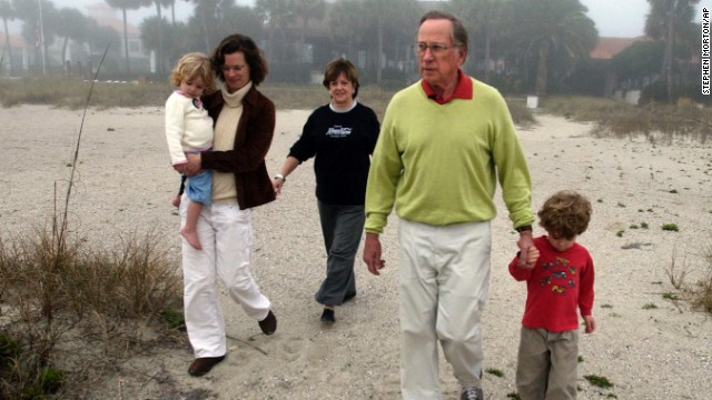 Former Sen. Sam Nunn, his wife Colleen, daughter Michelle, and his grandchildren Vinson and Elizabeth, left, walk the beach at Sea Island, Georgia, on January 4, 2007. Michelle Nunn is a candidate for Georgia's Senate seat in 2014.