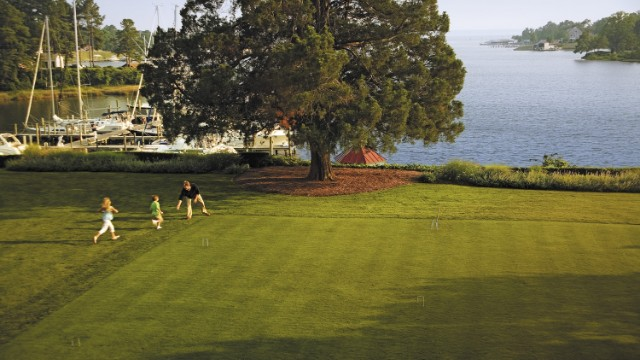 Tides Inn in Irvington, Virginia, keeps kids busy with golf, sailing lessons and croquet and tops off the day with s'mores.