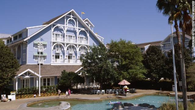 The Beach Club Resort at Walt Disney World features a three-acre water park with a waterslide crafted from the mast of a life-size shipwreck.