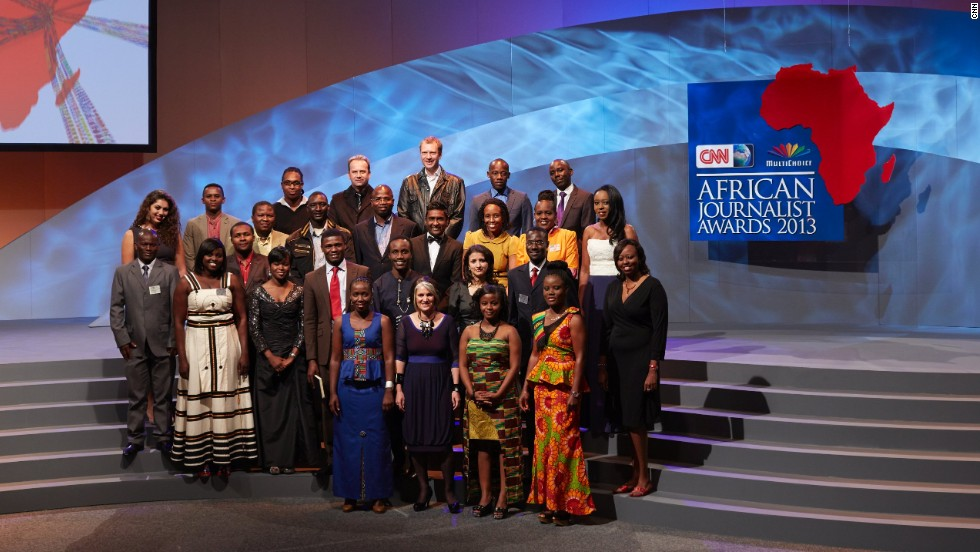 The finalists of the CNN African Journalist Awards 2013 gather on stage.