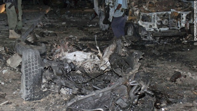 A car bomb exploded outside a Mogadishu hotel on November 8, 2013.