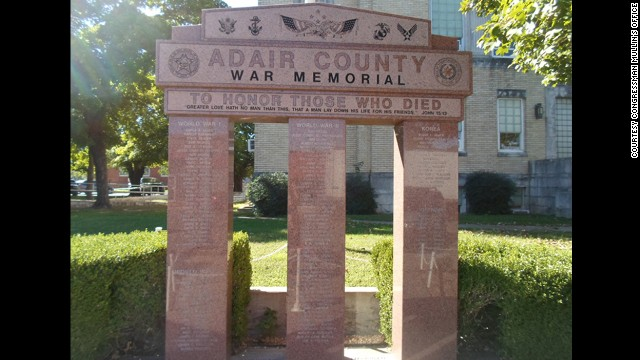 The Adair County War Memorial in Stilwell, Oklahoma, features an engraving of Pfc. Clarence Merriott's name.