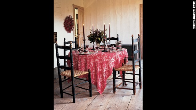 This Turkey red damask tablecloth, instantly adds warmth and a sense of refinement.<!-- --> </br>