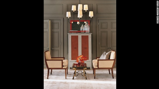 Splashes of reddish orange help create a modern feel.<!-- --> </br>