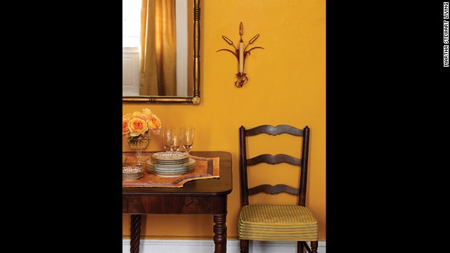 Marigold is lively enough to take the lead in this room's color scheme but not so bold that it overpowers the room.