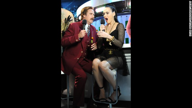 "Will Ferrell as ""Anchorman's"" Ron Burgandy joins Katy Perry onstage."