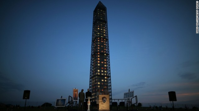 The monument is illuminated during a lighting ceremony in July.