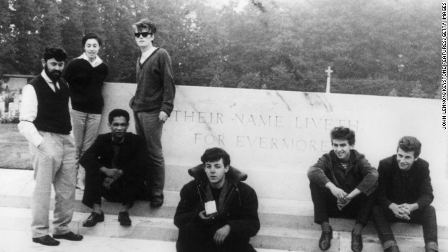 "Stu Sutcliffe was a terrible bassist. Though Sutcliffe (standing, third from left) was no McCartney, he went from complete neophyte to solid rhythm player during the band's Hamburg days. He left the job because he wanted to pursue his painting, and McCartney remembers being ""lumbered with"" the position as new bassist."