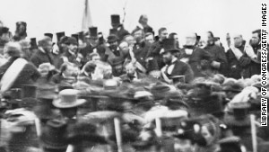 Abraham Lincoln arrives to deliver the Gettysburg Address, center right, November 19, 1863.\n \n