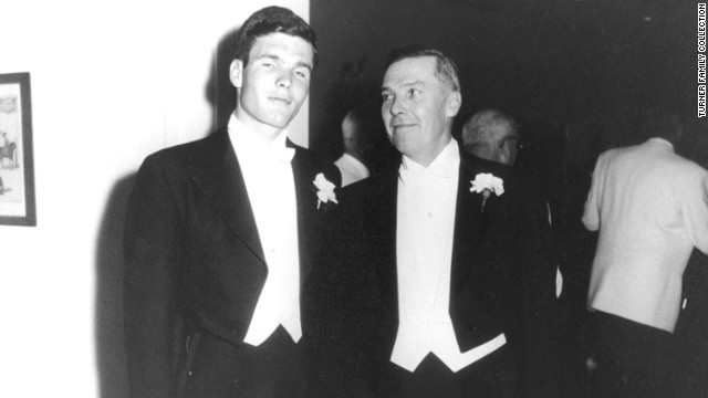 Turner with his father, Ed, on his wedding day. Ed Turner committed suicide three years later, in March 1963.
