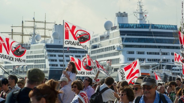 In September, protesters launched themselves into the water and managed to delay several ships from sailing up the Giudecca canal while others clashed with riot police on the banks.