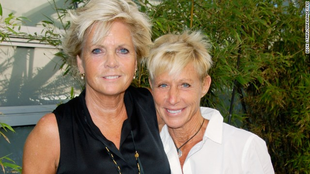 "Former ""Family Ties"" star Meredith Baxter, left, reportedly tied the knot with girlfriend Nancy Locke in December 2013. <a href='http://www.people.com/people/article/0,,20764010,00.html' target='_blank'>According to People magazine</a>, the couple wed in an intimate ceremony in Los Angeles. Baxter, 66,<a href='http://www.cnn.com/2009/SHOWBIZ/TV/12/02/meredith.baxter.lesbian.mom/index.html?iref=allsearch'> confirmed</a> rumors about her sexuality in 2009, plainly telling the ""Today"" show, ""Yes, I'm a lesbian."""