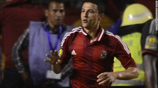 Ahmed Abdul Zaher issues a four-fingered sign after his goal sealed this year's African Champions League, but the forward has now been indefinitely suspended by the Egyptian club for his actions.
