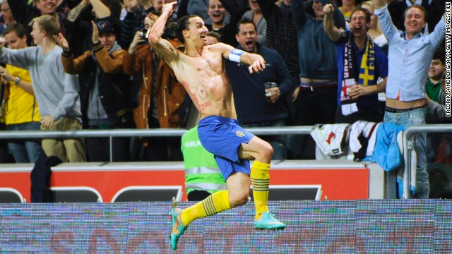 Arguably the finest goal of Ibrahimovic's career arrived in a 4-2 friendly win over England in November 2012, a match in which he scored all four of Sweden's goals. His final goal of the night came after England goalkeeper Joe Hart rushed out of his box to head clear a through ball, only for Ibrahimovic to perform an overhead kick from 30 yards out and sending the ball looping into the back of the net. The strike has been nominated for the Ferenc Puskas Award, an accolade given to the year's best goal.