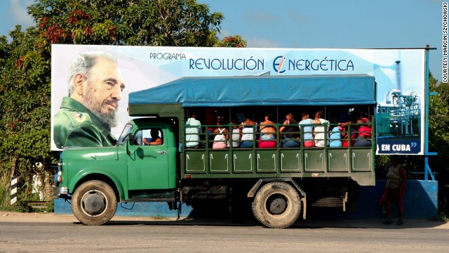 A sign bearing the image of Fidel Castro is seen behind a truck in Mariel, Cuba. The coastal town, situated just 30 miles from Havana, will soon play host to a giant new port and free-trade zone.