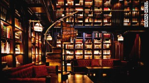 NoMad Hotel\'s brooding, but awesome, library.