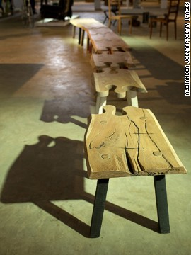 "'""Puzzle Bench"" by Pierre Cronje, displayed at MOAD on October 24."