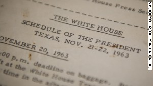 JFK\'s official schedule, distributed by the White House before his trip to Dallas between November 20-22, 1963.\n