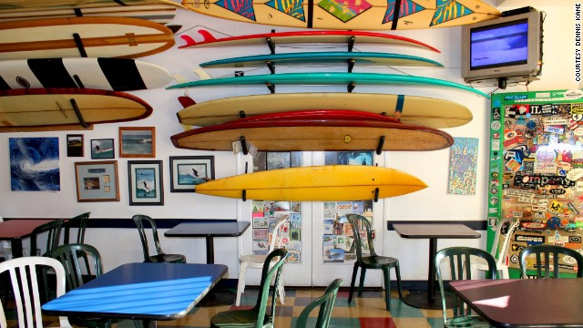 Taco Surf, a family-run taco shop on Pacific Beach, doubles as a museum of Southern California surf culture.