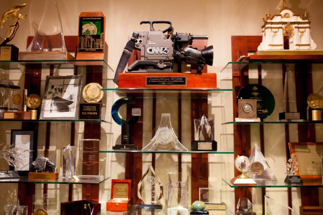 Ted Turner's trophies mark some of his many achievements.
