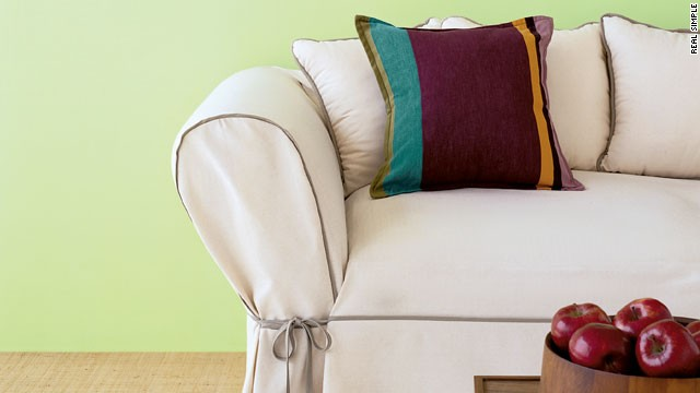 Easy DIY upgrade: Give your sofa a new look. Your favorite sofa is having a midlife crisis: It's not worth reupholstering, but it's not ready for the junkyard, either. A pre-made slipcover is just the thing to see it through. For a tight fit, use a wooden spoon or a spatula to work the fabric deep into the couch's crevices. If the arms of a chair or sofa are too narrow, beef them up with foam quilting or comforter batting (available at most fabric stores). To keep a slipcover from sliding out of place on a leather couch, lay nonslip carpet padding on the seat cushions.