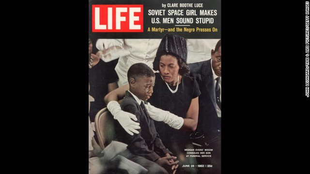 The June 28, 1963, LIFE cover of the child and widow of murdered civil rights activist Medgar Evers at his funeral. Evers was assassinated in his home in Jackson, Mississippi, on June 12, 1963.