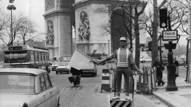 Ah yes, they make fabulous traffic wardens. Mr Sam here was tried out by French road authorities near the Arc de Triomphe in the Seventies, to warn motorists of approaching roadworks. His job was effectively just to hold a flag up for a very, very long time.