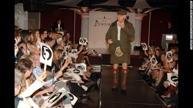 Turner walks the runway during the Dressed to Kilt charity event in 2005.