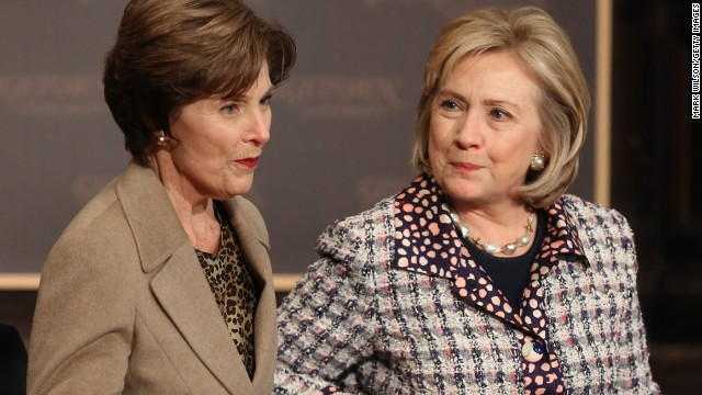 Hillary Clinton, Laura Bush talk security for Afghan women